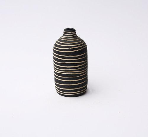 Hand-carved Black & White Vase