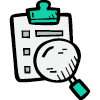 icon of a magifying glass being used on a clipboarded document