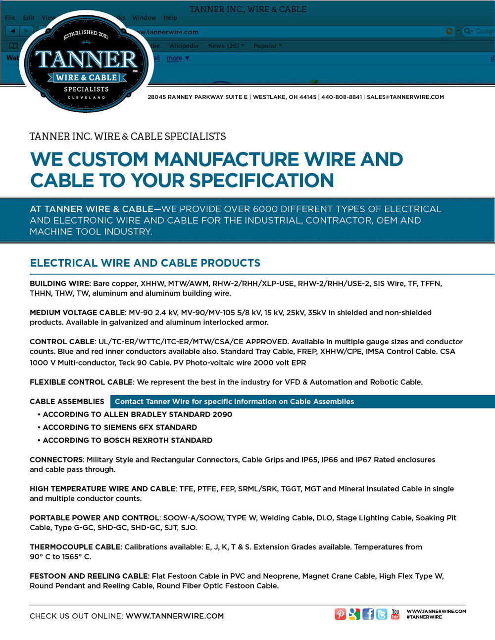 Products tanner inc wire cable specialists 2017 tanner line card pdf greentooth Images