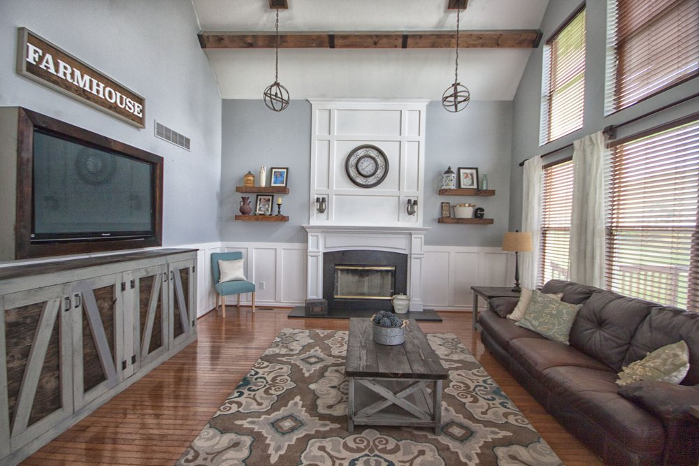 Modern farmhouse renovation Phoenixville Family Room