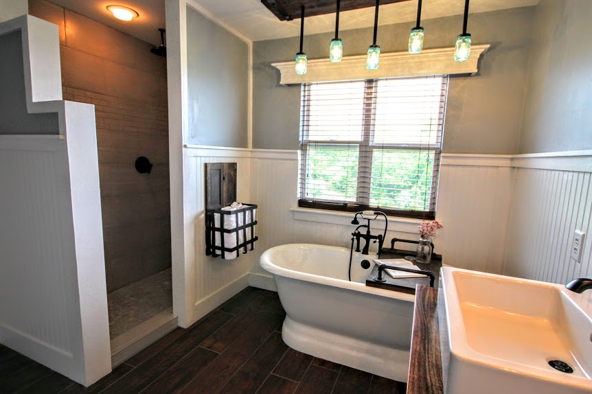 Walk In Shower Modern Farmhouse Bathroom Renovation