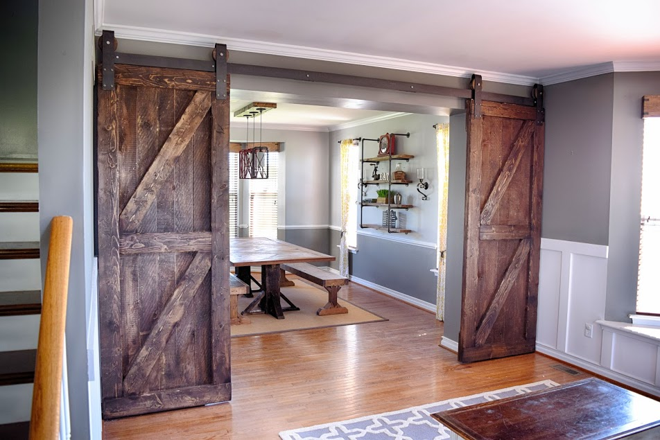 We transformed this formal living and dining room with for Barn door dining room
