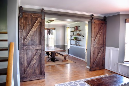 We Transformed This Formal Living And Dining Room With Custom Barn Doors Built Table