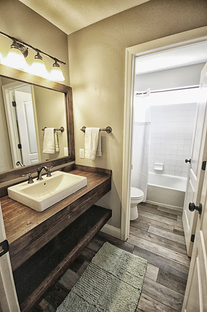 Modern Farmhouse Secondary Bathroom Facelift Iron Space Designs - Bathroom facelift