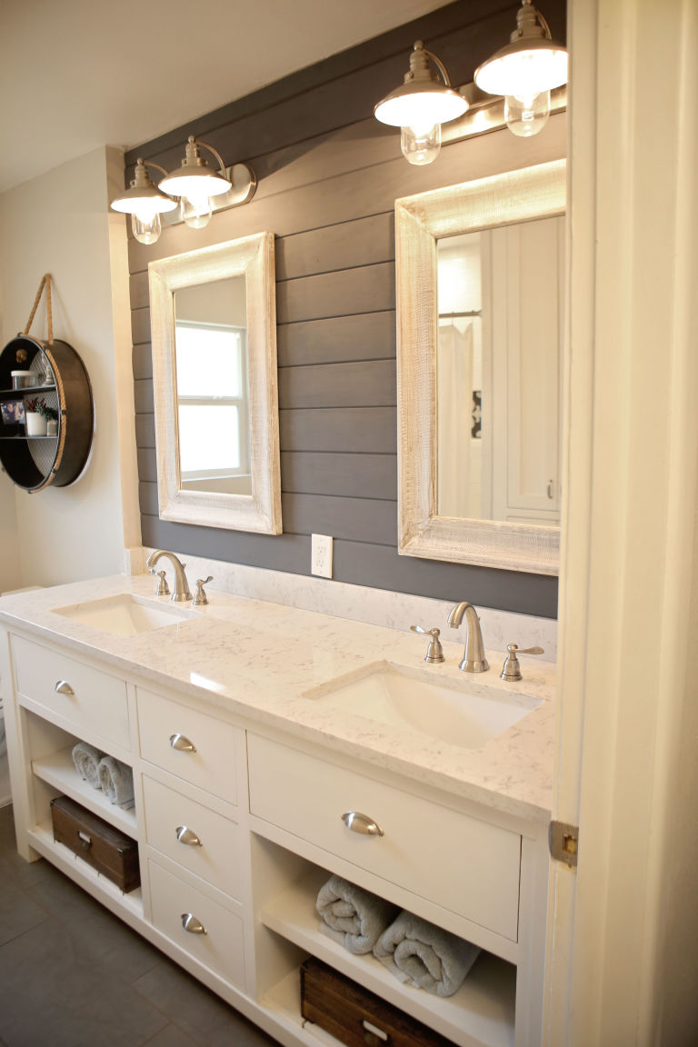 This shiplap is perfect for this bathroom
