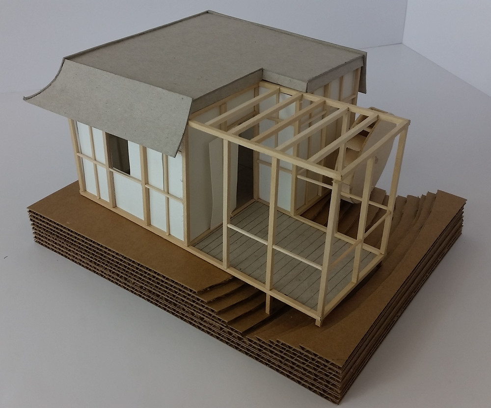 Final model || Chipboard, corrugated cardboard, basswood, vellum