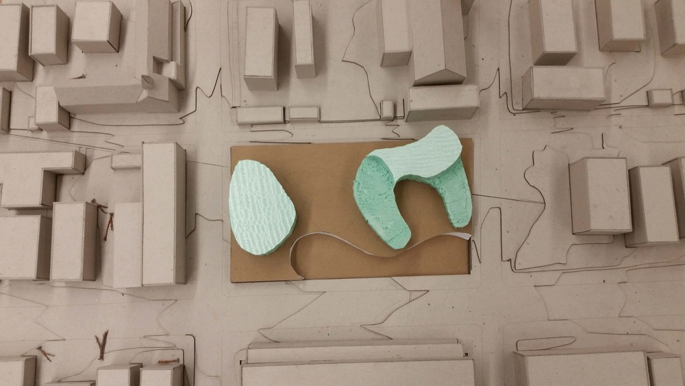 Initial concept model || Chipboard, corrugated cardboard, foam core, paper