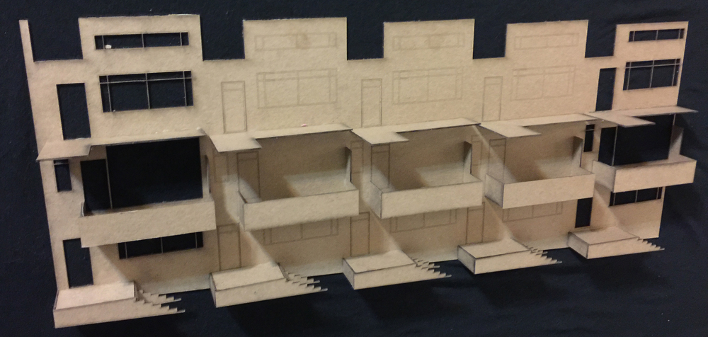 Facade study model || Chipboard, AutoCAD
