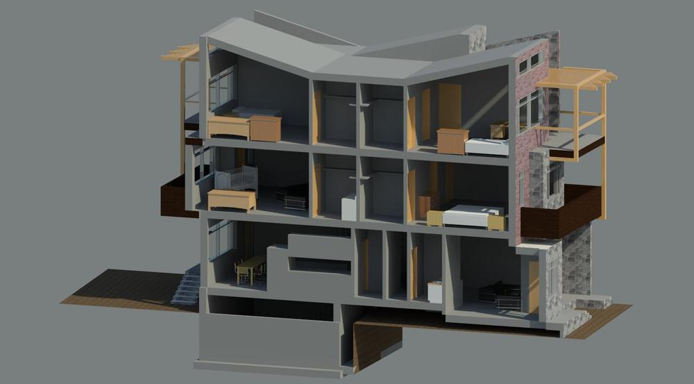 Rendered section perspective || Revit
