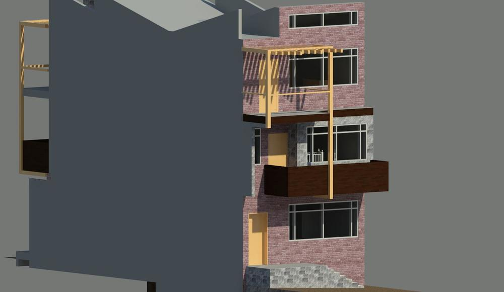 Rendered perspective of eastern facade || Revit