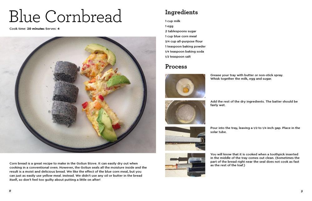 "GoSun Cookbook excerpt, Blue Cornbread recipe. 11"" x 17"" spread."