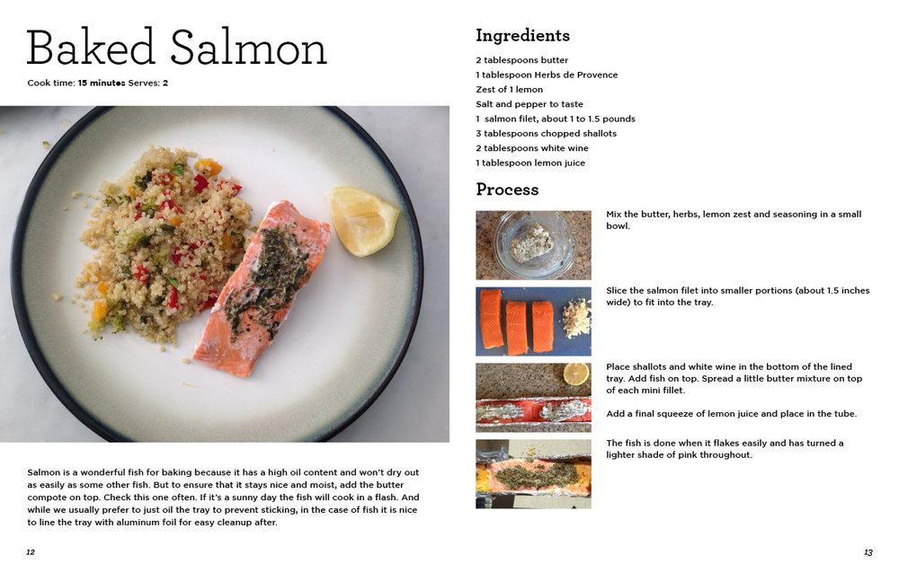 "GoSun Cookbook excerpt, Baked Salmon recipe. 11"" x 17"" spread."