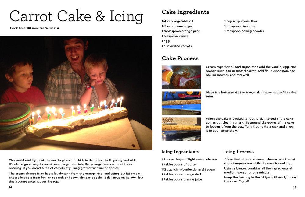 "GoSun Cookbook excerpt, Carrot Cake recipe. 11"" x 17"" spread."