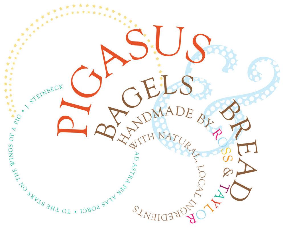 Pigasus Bagels & Bread 4-color logotype.