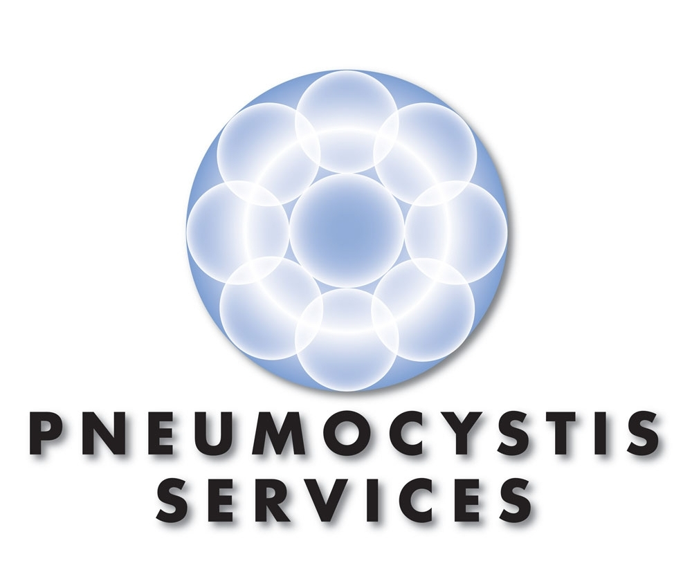 Pneumocystis Services, a microbiological drug testing start-up two-color logotype.