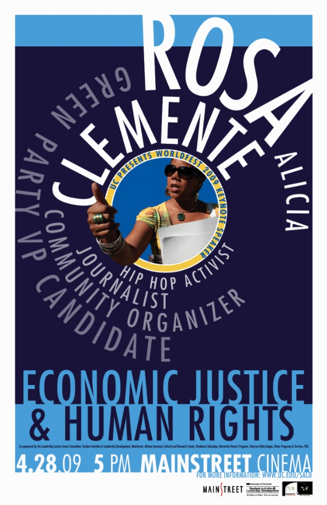 """Rosa Clemente Lecture Poster. 11"""" x 17""""."""