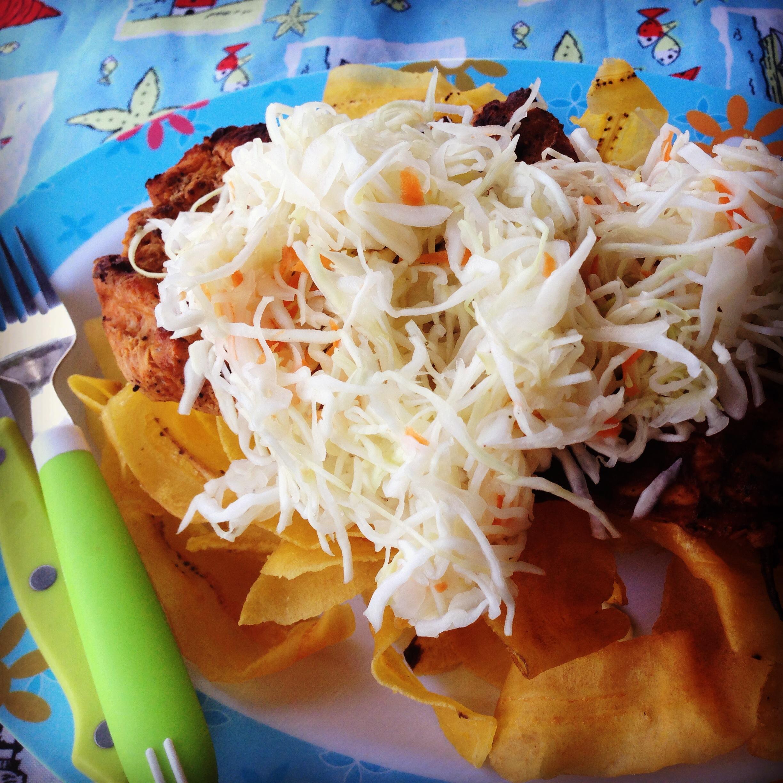 Tajadas, BBQ chicken and salad