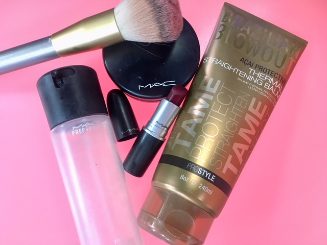 On the go melt-proof makeup and hair-smoothing products.