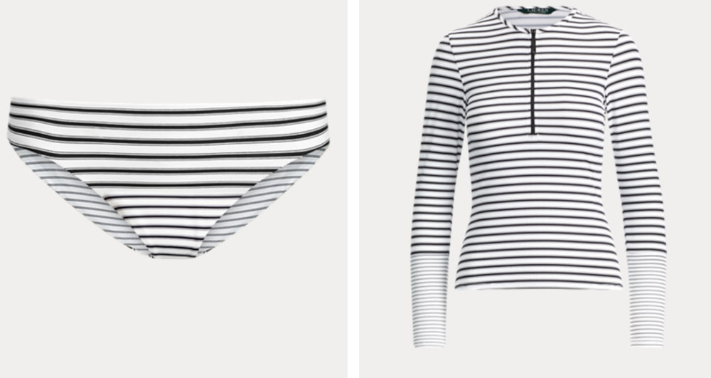 Ralph Lauren rashguard ($88) + reversible full-coverage bottom ($64) - If over-exposure to the sun is a concern, this is a sporty way to go. Note: while you could pair this with a solid black bottom because you believe it's slenderizing, that might look clunky (IMHO).
