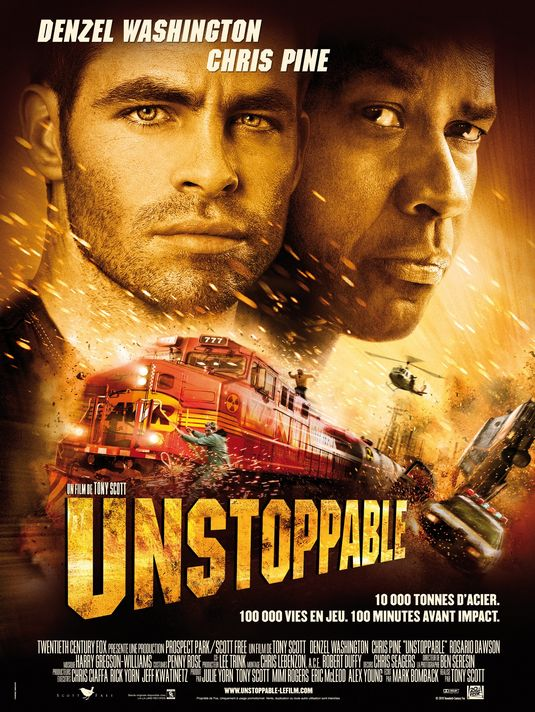 "Unstoppable - 2010 (Feature) – 1h 38mUnstoppable is an American disaster/thriller film. Starring Denzel Washington and Chris Pine, it is loosely based on the real-life CSX 8888 incident, telling the story of a runaway freight train and the two men who attempt to stop it.Kenneth Turan, Los Angeles Times Film Critic, wrote: ""Unstoppable is as good as its name. A runaway-train drama that never slows down, it fashions familiarity into a virtue and shows why old-school professionalism never goes out of style."""