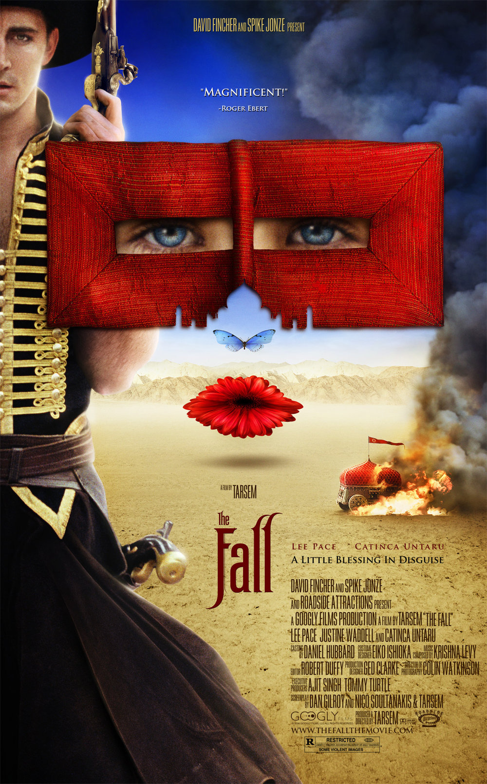 The Fall - 2006 (Feature) – 1h 57m The Fall is an adventure/fantasy film starring Lee Pace, Catinca Untaru, and Justine Waddell.In a hospital on the outskirts of 1920s Los Angeles, an injured stuntman begins to tell a fellow patient, a little girl with a broken arm, a fantastic story of five mythical heroes. Thanks to his fractured state of mind and her vivid imagination, the line between fiction and reality blurs as the tale advances.The film appeared on several critics' top ten lists of the best films of 2008.
