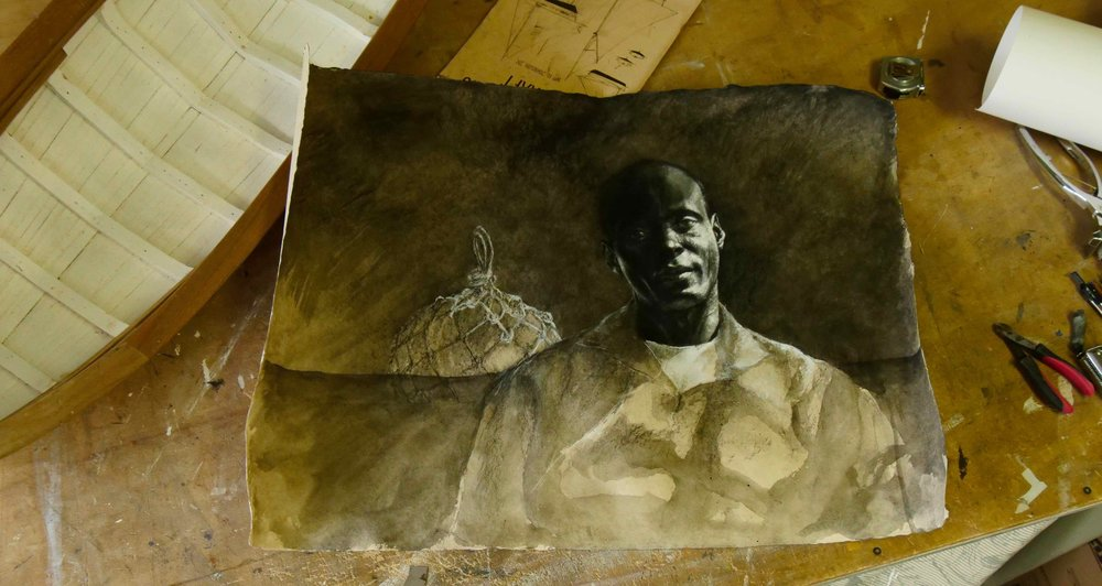 """When experimenting with hard paper, I found that charcoal did not work so I used casein and black ink."""