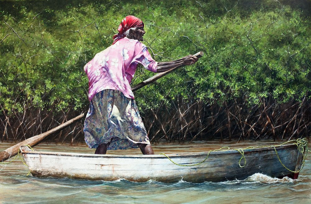 """Orphelia """"sculling"""" her way out to go fishing. Long Island."""