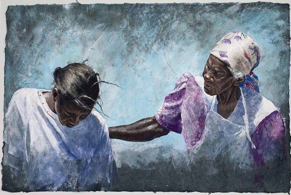 Orphelia and Betty Conversation. Watercolour.