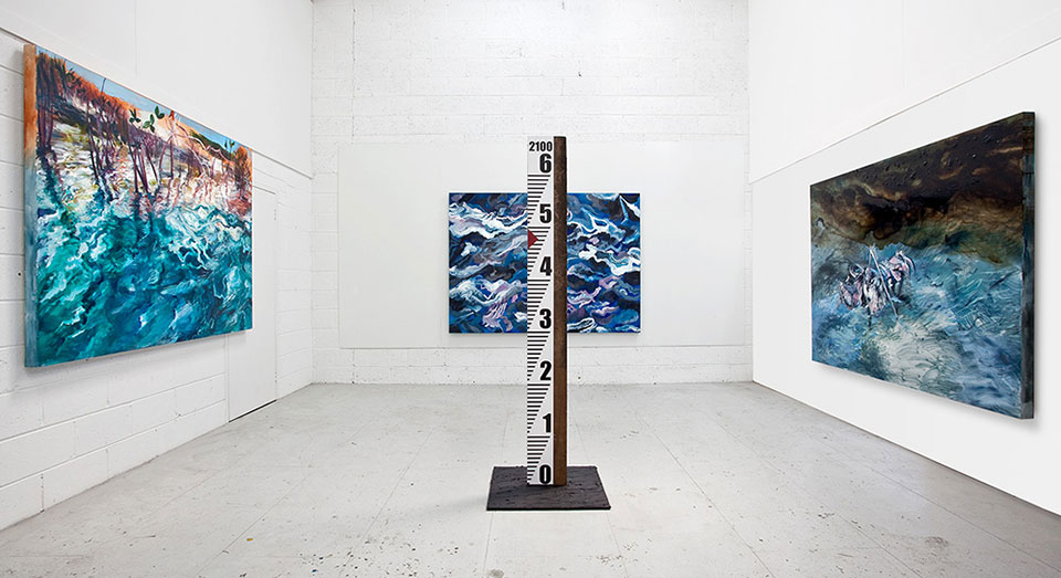 From the installation Tar Baby: Mangrovia, Surge & Plume with Water Level Marker, Oil & Bitumen on Canvas & Mixed Media, each 165x230cm.