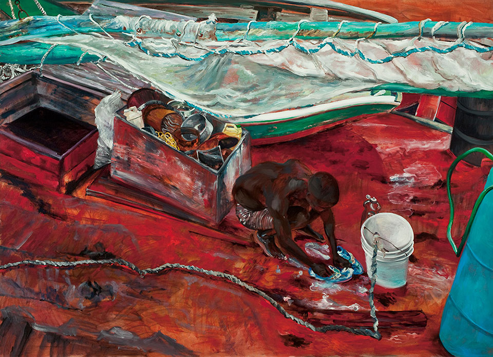 Haitian Migrant Worker, Cleaning his Flip-flops, Inagua, The Bahamas,  Oil on canvas, 165 x 230cm. Photo Angelo Plantamura