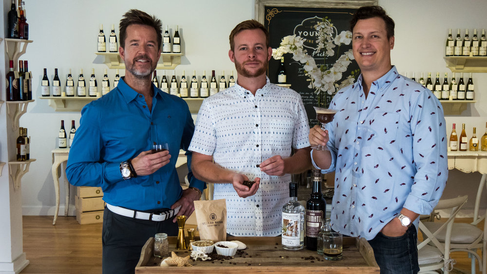 Re-imagining the Espresso Martini with Steven Kemp (centre) of Island Nation Roasting and Kyle Jones (far right) of Young's Fine Wines. .