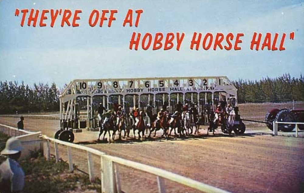 """A postcard from 1970 showing the action unfolding at Hobby Horse Hall —""""the only race track at its kind in the world."""""""
