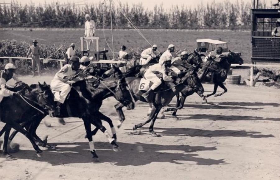 The horses take off at Hobby Horse Hall. Photo courtesy of Bahamas Historical Society.