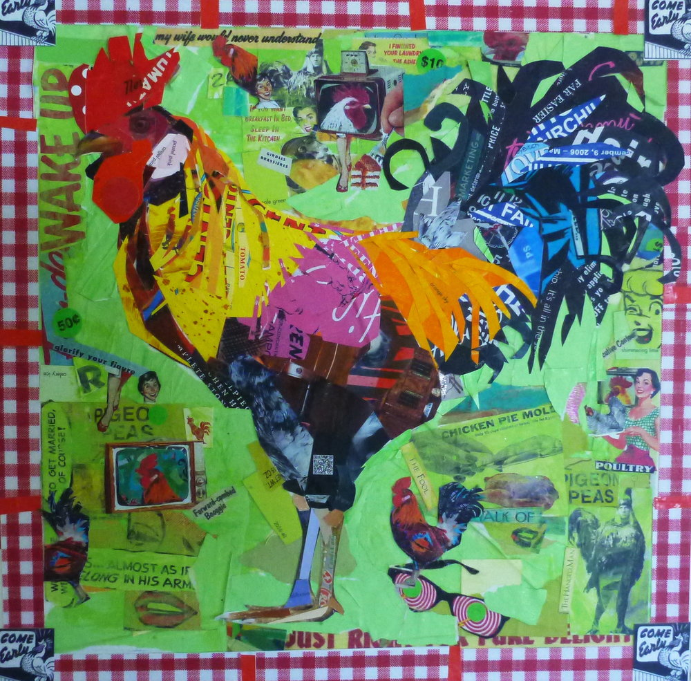 A grand example of Susan's collage series featuring a truly Bahamian rooster.