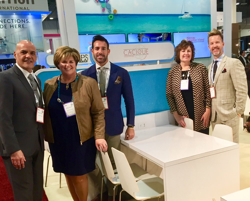 Industry leaders at IMEX America 2017. (L-R) Ramon Santos (Silversea), Patty Karsten (BI Worldwide),  Lio Mograbi (Senior VP & General Manager, Cacique International) ,   Mary McGregor (BI Worldwide) &  Shawn M. Sawyer (President & Creative Director, Cacique International)