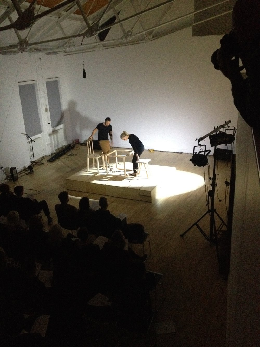 """Heino Schmid and Tessa working collaboratively on """"These Clapping Bones"""" at SHOWOFF, London. The artist was awarded Chisenhale Studio4 Residency (2014), her work was shortlisted for Wells Art Contemporary, Well's Museum, UK (2013), for the Threadneedle Prize, Mall Galleries, London (2012), it was selected to exhibit in the Royal Academy Summer Show (2011) and she was awarded the William Coldstream Memorial Prize for which her work acquired by the University College London collection (2009)."""