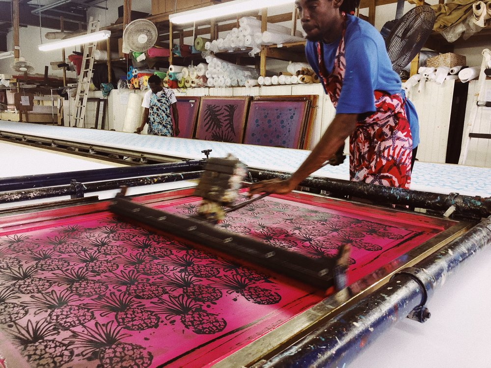 Screen-printing at the Bahama Hand Prints factory, using the original 1966 machinery.