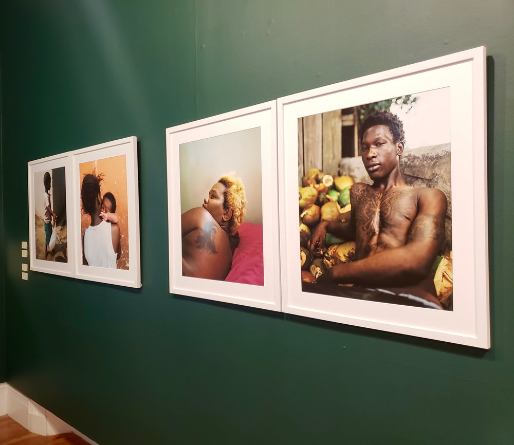 From left to right: Yellow Elder Youngin', Sisters, Renee and Shano on display at  NE9 Exhibition   National Art Gallery of The Bahamas.