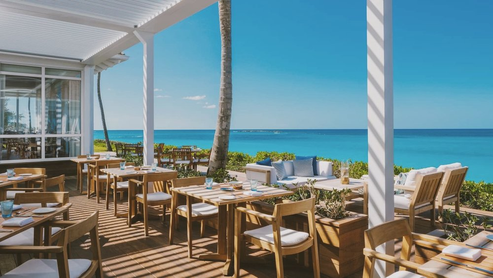 Dune by Jean-Georges overlooking the splendid blues.
