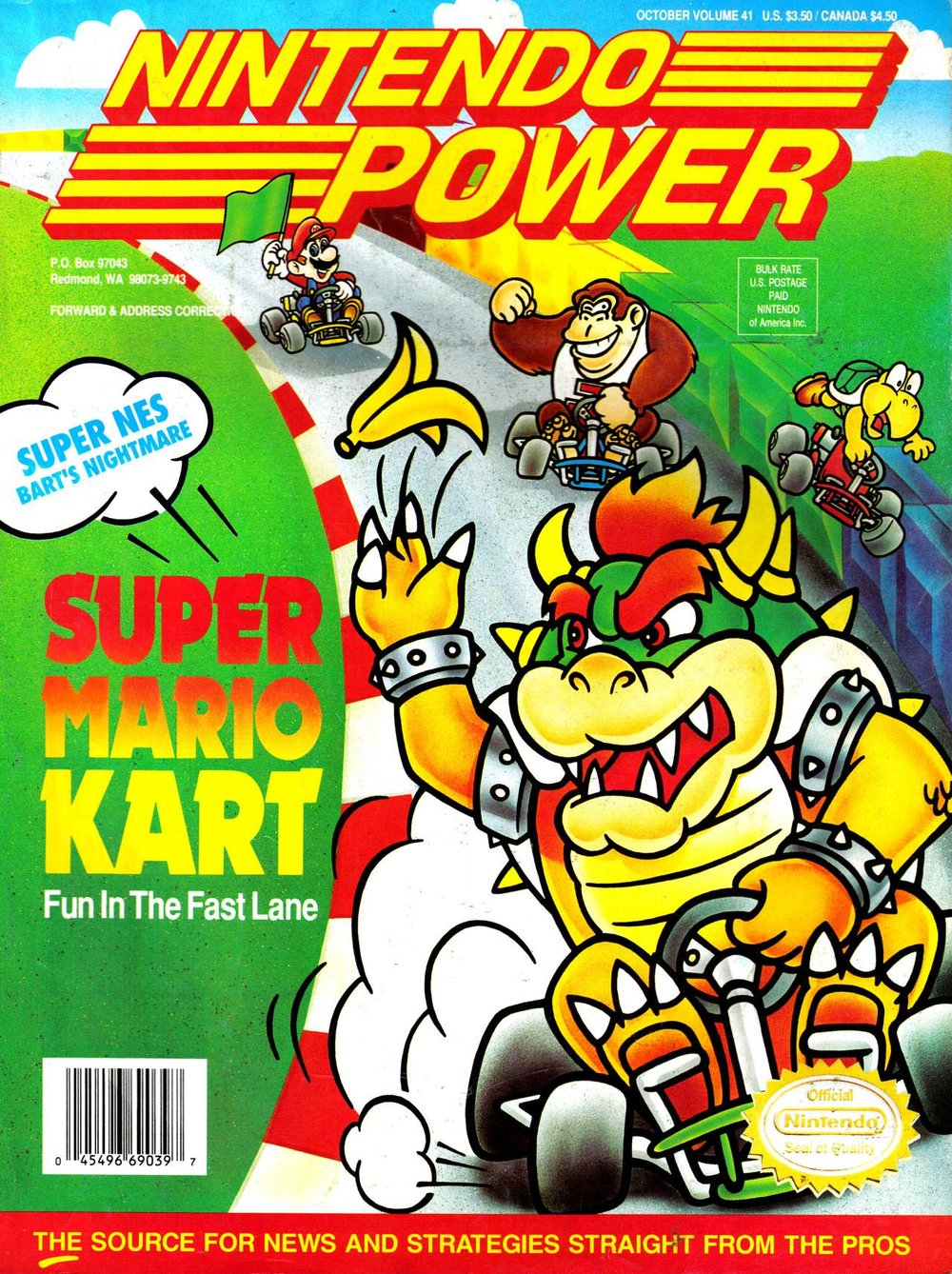 NINTENDO POWER VOLUME: 41   Nintendo Power V41   is the October   1992   issue of    Nintendo Power   magazine. It featured    Super Mario Kart    on it's cover.