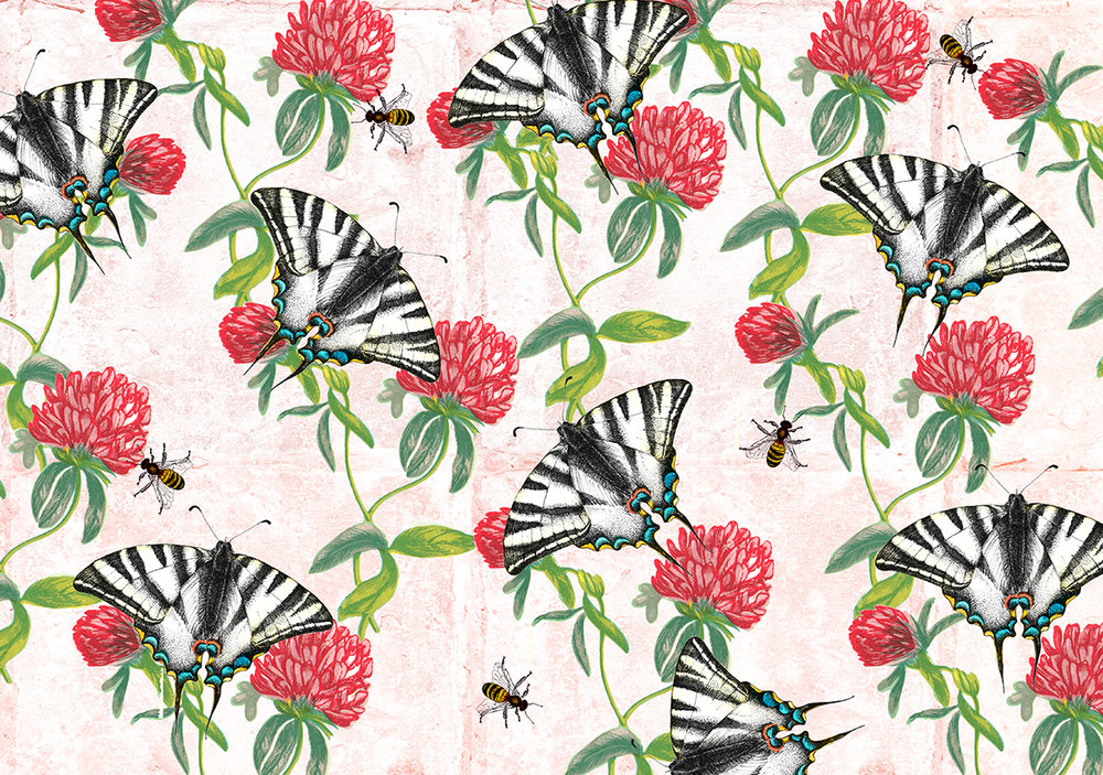 TEA TOWEL clover and butterflys.jpg