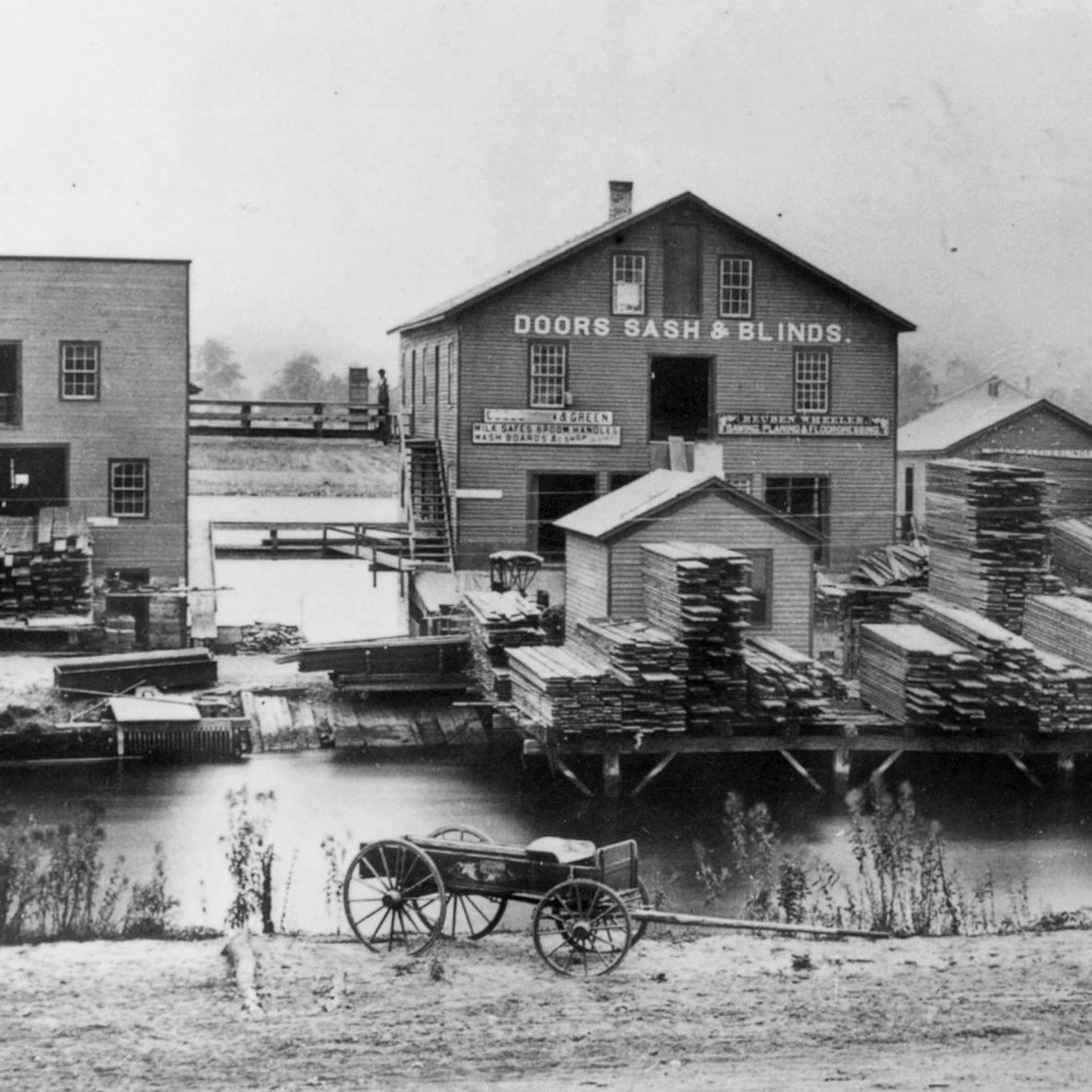 Reuben Wheeler Planing Mill, Doors, Sash & Blinds on the east side water power canal, circa 1870.