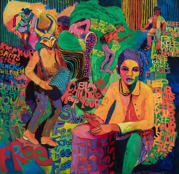 Image: Carolyn Mims Lawrence, Black Children Keep Your Spirits Free, 1972Collection &© Carolyn Mims Lawrence via  Tate Modern .