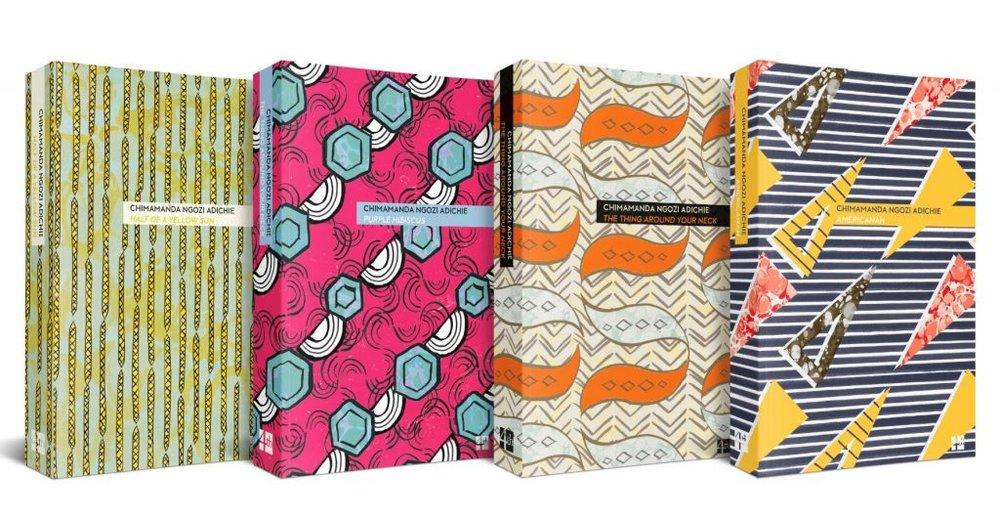 Nigerian wax (anakara) inspired covers of 4 of 6  Chimamanda Ngozi Adichie  titles. Image:  4th Estate .
