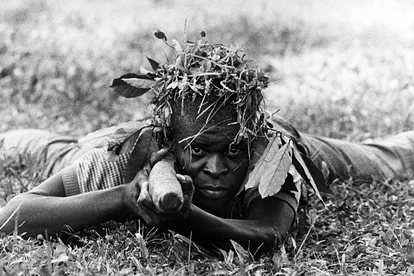 A Biafran Soldier With A Dummy Rifle.