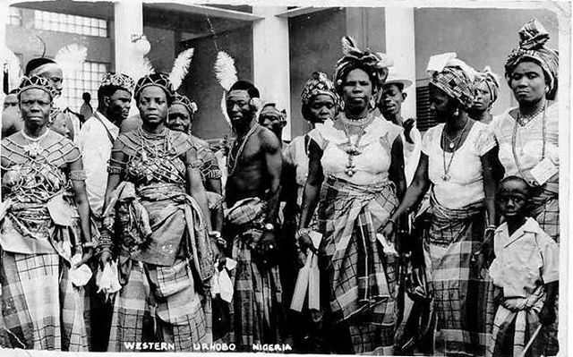 "🚩Western Urhobo, Nigeria.  _  From music to their stunning and detailed attire and food (Banga, Ukhodo), the Urhobo people are one of the richest (culturally) tribes in Nigeria. Known for their evergreen forests and oil (palm and crude) wealth, the people were initially referred to as ""Sobo—being tributary to Benin"" by colonial voyager, Dr. William Balfour Baikie, on discovering the (then) 'untapped' region.  _  Image: Dynamic Africa/NNP."