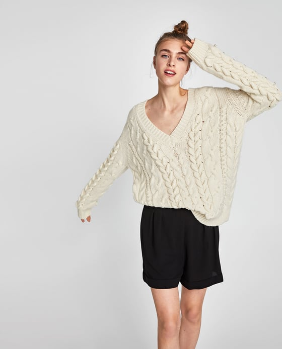 ZARA - CABLE-KNIT SWEATER WITH PEARL BEADSDETAILS69.90