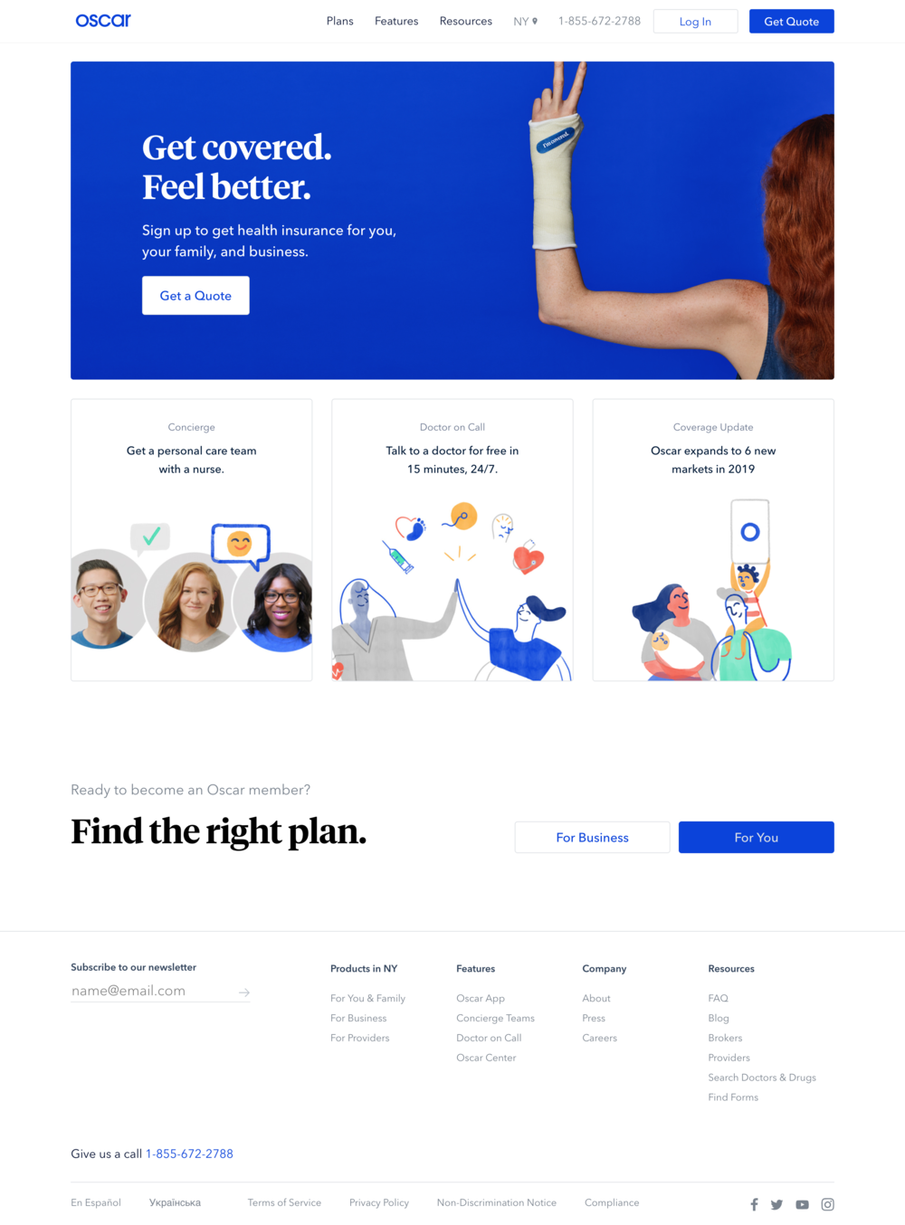 Oscar - Private healthcare insurer. Utilizes a more transparent business model re: coverage and billing. Offers members less barrier to access physician care with on-call system.