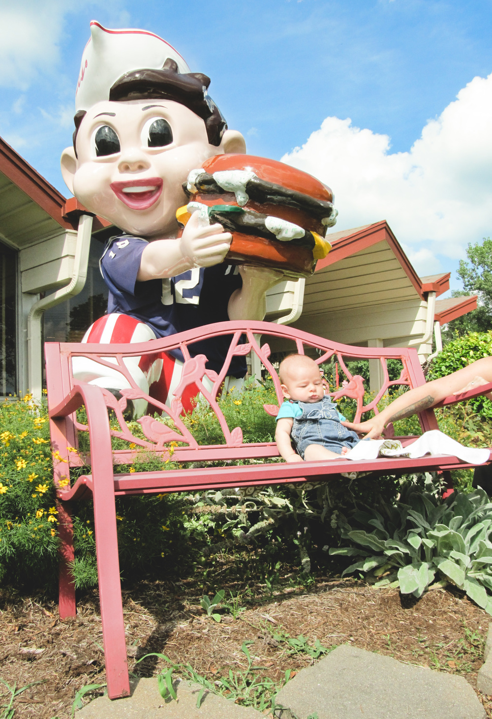 Asher chills outside Frisch's Big Boy in Anderson.