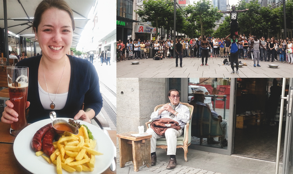 An afternoon in Frankfurt (clockwise from left): Alisha's culinary dreams come true with some Bavarian standards, a group of street performers wow the crowds with their acrobatics, and we spied the world's most interesting man.
